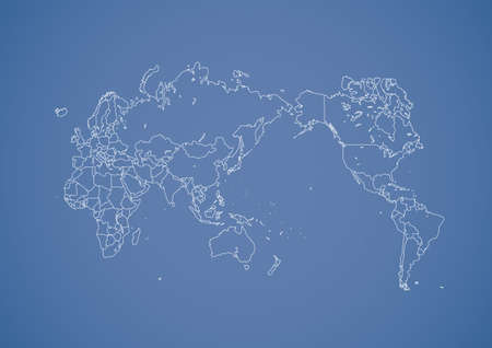Stroked world map illustration with nation borders on a gradient background. Vector