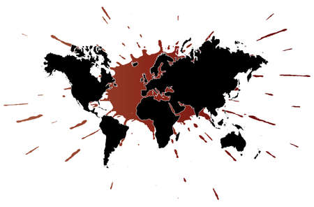 underneath: Vector illustration of the world (map) with an ink splatter underneath.