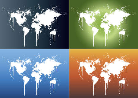 Vector illustrations of world maps splattered on four different beautiful gradient backgrounds: light blue, fire, green (world) and dark teal.