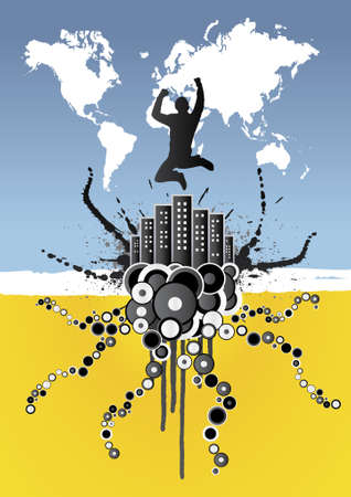 Funky vector illustration of a city with skycrapers with a businesman jumping above it. Style of circles and ink splatters. Global world map in the sky. Vector