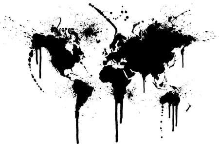 World ink splatter vector illustration. Original world map trace with grunge ink splatters.
