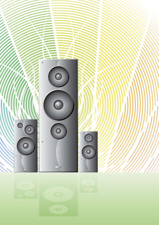 cheery: Vector illustration of three detailed gradient speakers with a rainbow cheery theme, lined artwork and an element reflection.