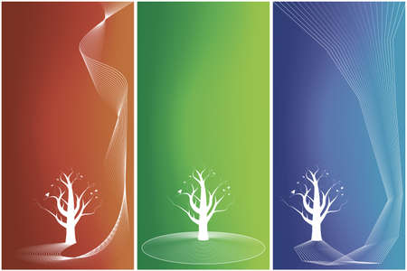 Vector illustrations of three gradient mesh backgrounds with floral and lined art: blue - edgy, red - flowing, green - circles. Stock Vector - 2456415
