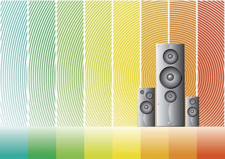 speaker box: Ilustraciones de vectores de tres oradores en la sombra un colorido arco iris de fondo.