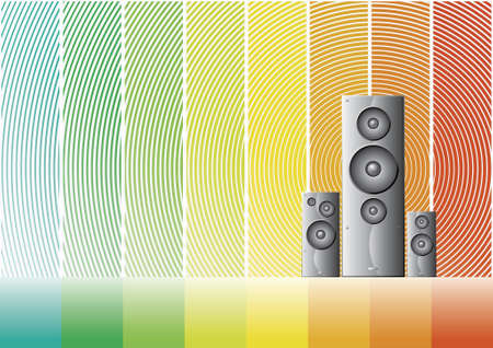 Vector illustrations of three shaded speakers on a colorful rainbow background.
