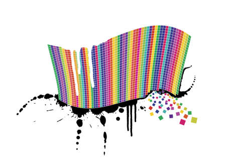 Vector illustration of a wavy rainbow wall full of squares with black ink splatter below it and white paint over it. Little squares falling away. Stock Vector - 2456416