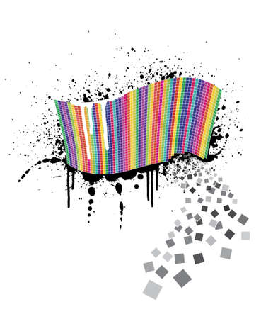Vector illustration of a wavy rainbow wall full of squares with black ink splatter below it and white paint over it. Little squares falling away. Stock Vector - 2456418