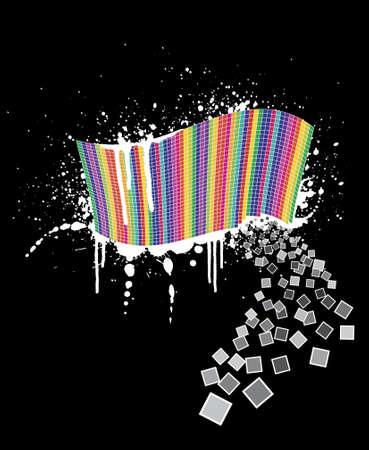 slick: Vector illustration of a wavy rainbow wall full of squares with black ink splatter below it and white paint over it. Little squares falling away. Black background.