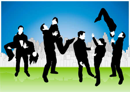 Vector illustration of four joyful couple sillhouettes in various poses on a cheery urban cityscape background. Vector