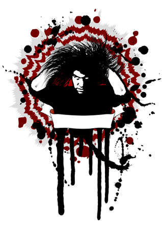 Vector illustration in grunge style with splatters of a dangerous horryfing man with white eyes and empty banner for custom text. Easily editable. Stock Vector - 2490892