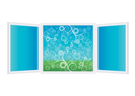 Vector illustration of a beautiful open window (blended) with glass reflections and a scenic background full of spiral floral patterns. Green and blue. Vector