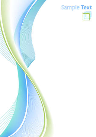 Vector illustration of abstract lined art on a blank white background with template logo or ad message in the corner. Clean. Vertical Illustration