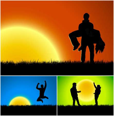 Vectorillustraties van drie zonsondergang en zonsopgangachtergronden met verschillende thema's: bedrijfssucces, melancholische romance en vriendschap of liefde.
