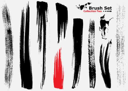 verschmieren: Sammlung von sehr detaillierten Vektor-Illustration B�rsten - Set 2  Illustration