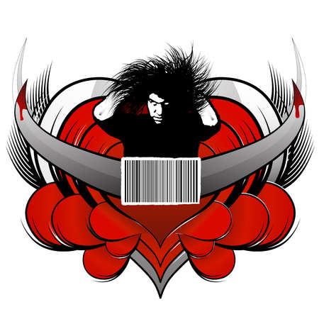Vector illustration of a central dangerous man with white eyes and messy hair, a barcode concept element in the middle and patterned hearts with wings and bloody horns in the back. Customizable. Vector