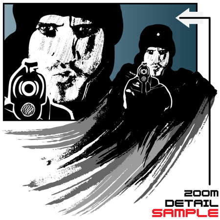 Highly detailed vector illustration of an adult man with a hat firing an automatic pistol in grunge style with splatters and brushes. Zoom detail in background. Detailed illustration on separated layers. Vector