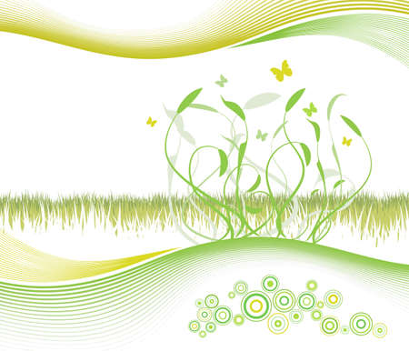 Vector illustration of a summerspring floral and lined art background with cheery circles and copy space. Vector