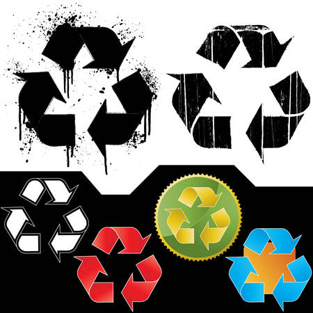 utilization: Vector illustrations of six different ecology symbol icons: two isolated grungy icons (splatter and dirt textured - highly detailed) and four symbol icon badges.