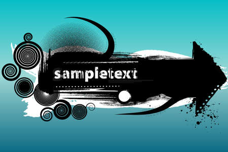 Vector illustration of a modern grunge design element with spirals and dirty brushes. Copy space for text or logo.