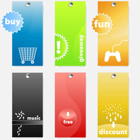 Vector illustrations of differently colored glossy shopping and music related web tagslabels. Vector