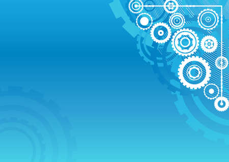 Vector illustration of an industrial clockwork pattern background. Horizontal. Technologyindustry concept in blue. Vector