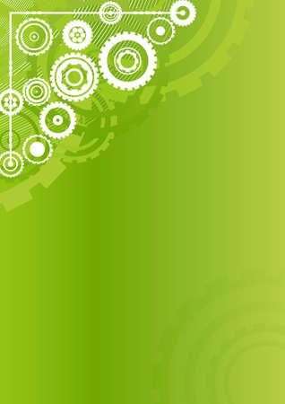 Vector illustration of a modern industrial clockwork pattern background. Technology concept in vivid green. Vertical. Vector
