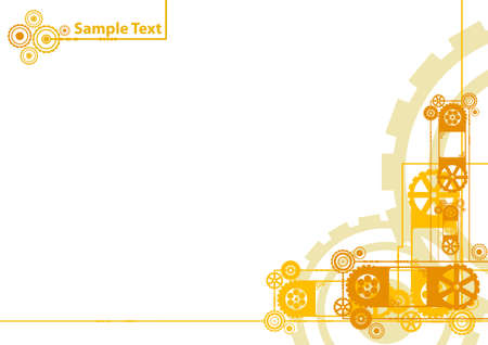 Vector illustration of a modern industrial clockwork pattern background in yellow and orange with sample logo in the corner.