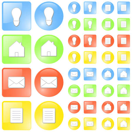 slick: Vector illustration of simple slick glossy icons in four themes: ideaconcept, home, mail and document symbols. Four colors: blue, green, red and yellow. Illustration