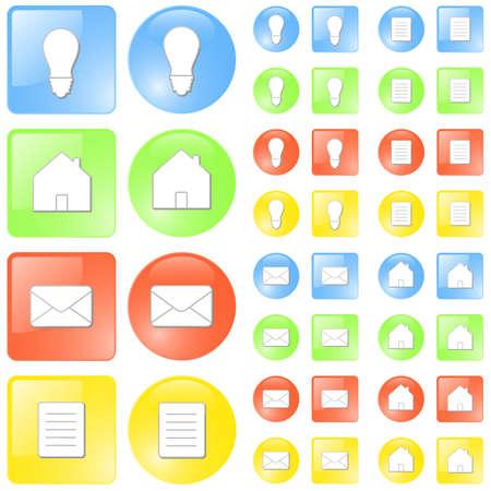 geschniegelt: Vektor-Illustration von einfachen glatten gl�nzenden Symbole in vier Themenbereiche: Idee  Konzept, zu Hause, E-Mail-und Dokumentenmanagement Symbole. Vier Farben: blau, gr�n, rot und gelb.