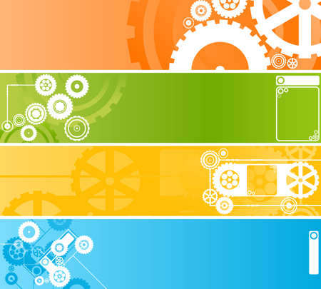 Vector illustration of four different technological and industrial web banners or backgrounds. Highly detailed in various colors. Vector