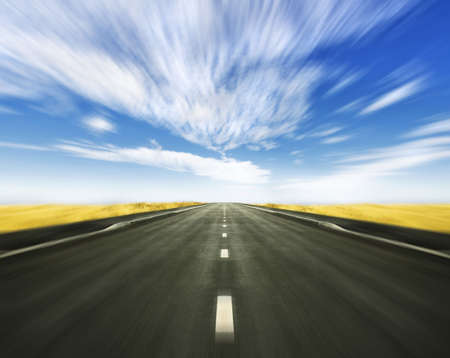Blurred conceptual horizon road leading into the horizon Stock Photo
