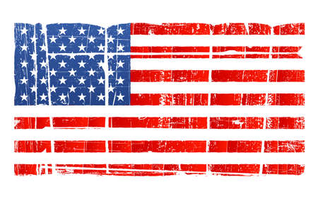Vector illustration of the American flag in accurate proportions with a grungy distressed look. Separated on layer. Detailed dirt. Vector