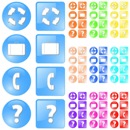 slick: Vector illustration of simple slick glossy icons in four themes: refresh, luggage (portfolio), contactphone and question symbols. Ten different colors. Illustration