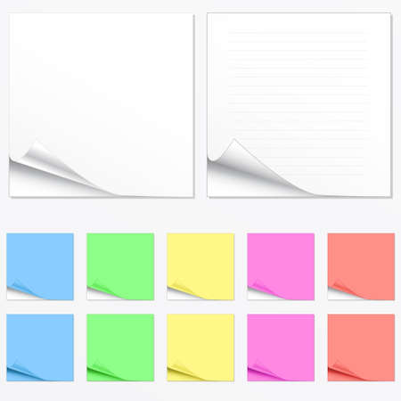 Vector illustration of paper pads in different colors with shadowed curl. Two main versions with lines and without.