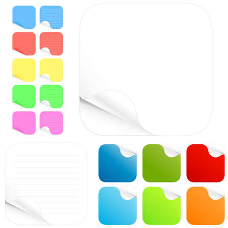 Vector illustration of paper stickers and pads in different colors with shadowed curl. Two main versions with lines and without in different colors. Rounded edges. Vector