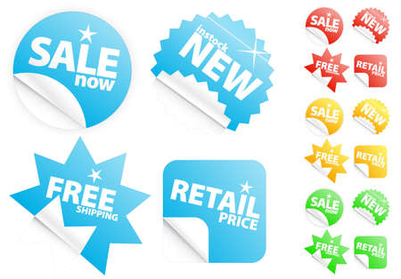 Vector illustrations of four different modern glossy shiny iconsstickers or tags on sellingretail theme. Four different colors. Customizable.