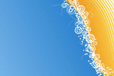 Vector illustration of a celebrative background with waved lined art, modern circles and a myriad of stars. Blue and orangeyellow horizontal. Vector