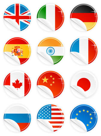 all european flags: Vector illustrations of 12 national flagemblem buttonstagsicons in glossy modern style with peel effect: UK, Italy, Germany, Spain, India, France, Canada, China, Japan, Russia, USA and EU.