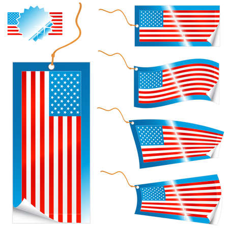 Vector illustrations of detailed American flag tags (retail or info) in different shapes (simple, waves, badges) and an universal glossy USA icon. Stock Vector - 2733748