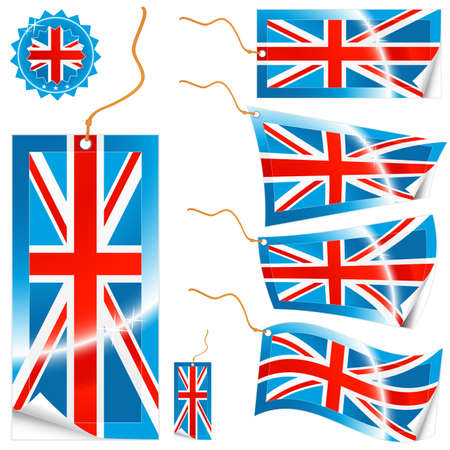 Vector illustrations of detailed United Kingdom flag tags (retail or info) in different shapes (simple, waves, badges) and an universal glossy UK icon. Stock Vector - 2733572