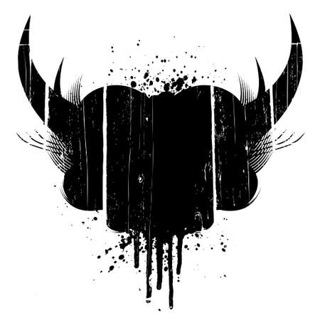 Vector illustration of a grungy aged design element with horns and ink splatter. Vector