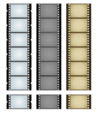 Vector illustration of three simple filmstrips: blue, gray and aged and textured brown.