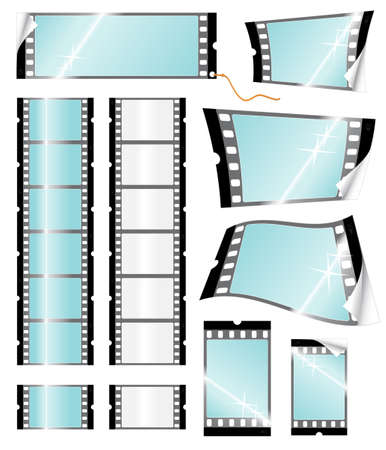 Vector illustration of many different camera filmstrips in sticker, tag and wavy shapes. Glossy symbols with reflections. Retail and sale concept.