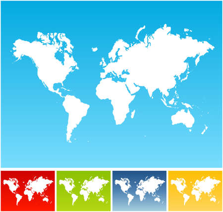 Vector illustration of five different world maps on vivid gradient backgrounds.