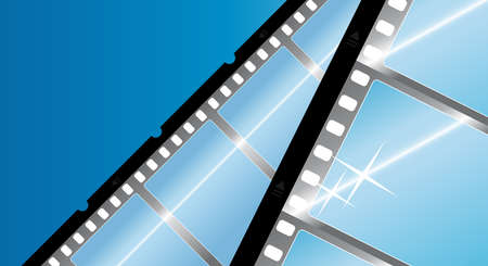 Vector illustration of a camera film filmstrip background. Modern glossy element with reflections. Corner composition. Vector