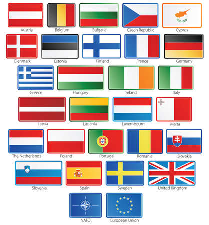 Vector illustration of button flags of the 27 members of the European Union as of 2008 plus NATO and the EU in real official proportions. Grouped individually. Vector