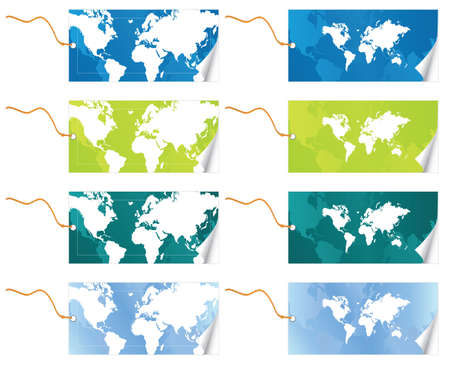 slick: Vector illustration of two different world map slick tags with leash in four color variations. Peel effect. Illustration