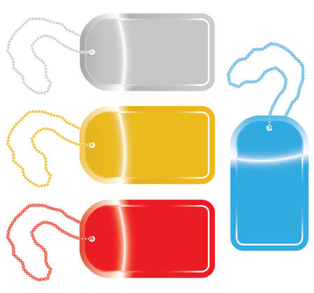 dogtag: vector illustration of dog tags in four different colors. Illustration