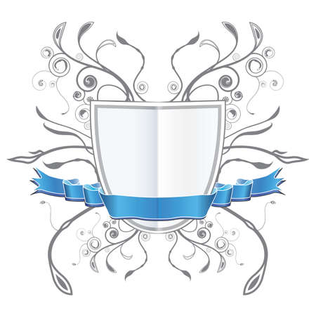 Vector illustration of a blank customizable floral coat of arms (shield) with a blue ribbon.
