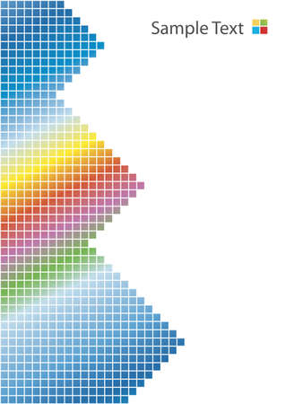 Vector illustration of a colorful rainbow with squared patterns and pyramids. White background, vertical. Illustration